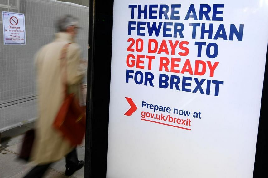 A British government Brexit information campaign poster at a bus stop in central London on Oct 15, 2019.