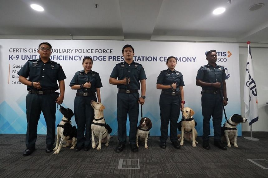 Sniffer dogs and their handlers from Certis's new K-9 unit at a presentation ceremony at the firm's headquarters in Paya Lebar on Oct 16, 2019.