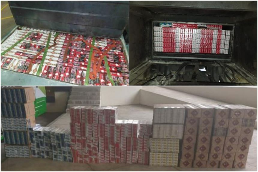 The duty-unpaid cigarettes were concealed in a bus and prime mover, both Malaysia-registered, that were trying to enter Singapore on separate days.