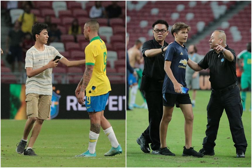 The friendly football match between Brazil and Senegal on Oct 10, 2019 saw two young boys run onto the pitch in Kallang to take wefies with Neymar and other players.