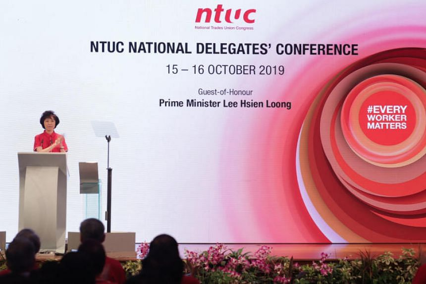 NTUC president Mary Liew delivering her welcome address at the NTUC National Delegates' Conference 2019 on Oct 15, 2019. She was re-elected to lead NTUC as president on Oct 16.