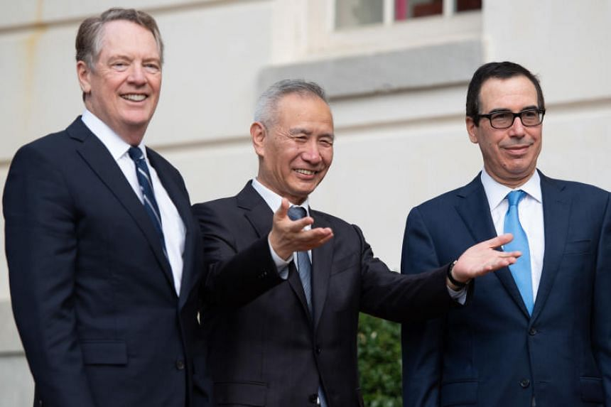 (From left) US Trade Representative Robert Lighthizer, Chinese Vice-Premier Liu He and US Treasury Secretary Steven Mnuchin meet in advance of trade talks in Washington in this picture taken on Oct 10, 2019.