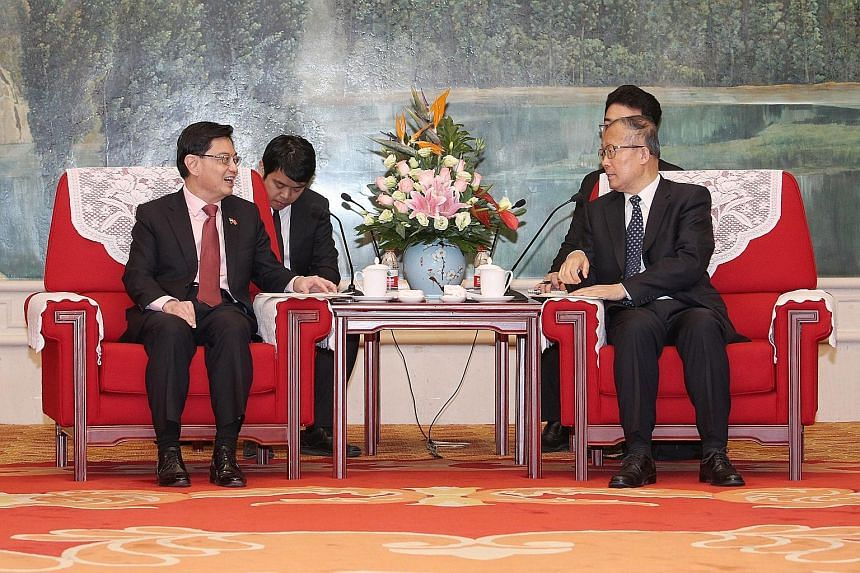DPM Heng meeting Tianjin Party Secretary Li Hongzhong yesterday. Mr Heng said in a Facebook post last night that both countries have much to learn from each other.