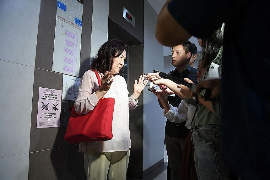 "Singapore People's Party chairman Lina Chiam speaking to the media after leaving the party conference yesterday. She said her husband, Mr Chiam See Tong (above), ""has given all he can for Singaporeans"", and it is time for him to have a rest. ST PHOTO"