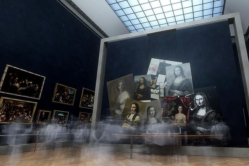 A team (above) working on the Leonardo da Vinci virtual-reality tour (right, in a screenshot) for the Louvre.