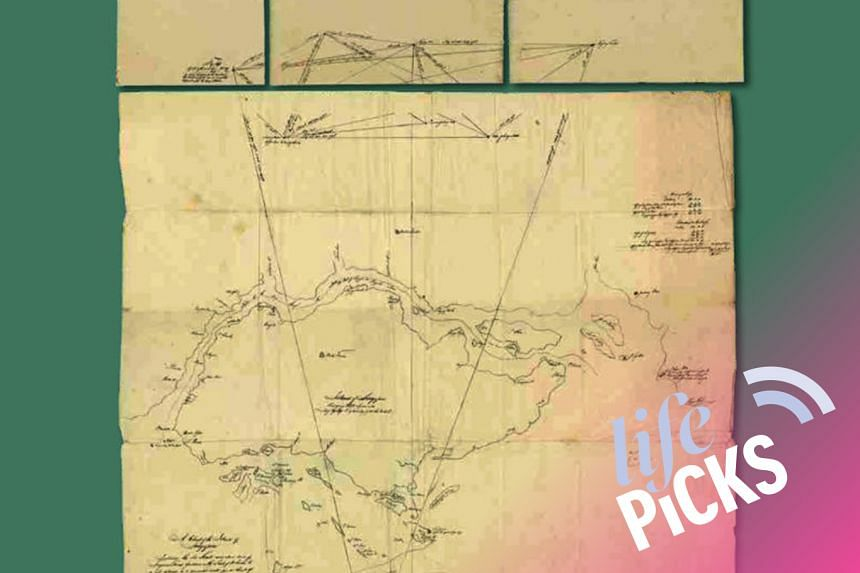 Among the highlights of the On Paper: Singapore Before 1867 exhibition is a 1822 hand-drawn map (pictured) by Captain James Franklin, which shows the earliest record of Singapore's shape and size.