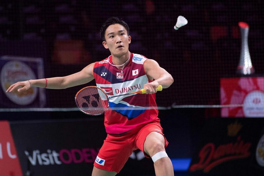 Japan's Kento Momota plays against Hong Kong'g Wong Wing Ki Vincent (not in picture) during the men's singles match of the Danisa Badminton Denmark Open Badminton in Odense, Denmark on Oct 16, 2019.
