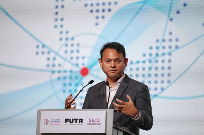 Minister of State for National Development and Manpower Zaqy Mohamad at the Suntec Singapore Convention and Exhibition Centre during the opening ceremony of the Singapore Business Federation's Future Economy Conference and Exhibition on Oct 16, 2019.