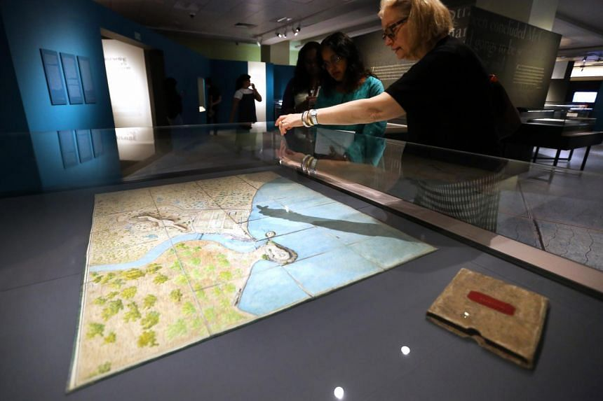 A photo taken on Sept 27 shows the Bute Map, on loan from The Bute Archive at Mount Stuart, during a media preview of the On Paper: Singapore Before 1867 exhibition at the National Library.