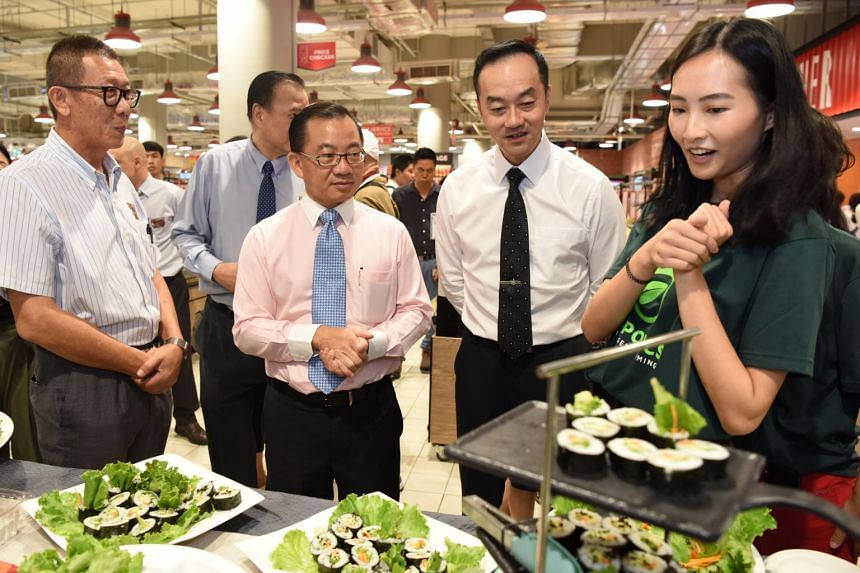 (From left) Citiponics chairman Teo Hwa Kok, NTUC FairPrice chief executive Seah Kian Peng, Senior Minister of State for Trade and Industry Koh Poh Koon, and Citiponics co-founder Danielle Chan at the Made in Singapore fair held on Oct 17, 2019.