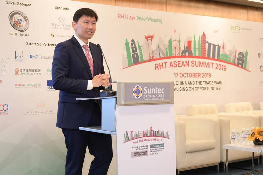 Senior Minister of State for Trade and Industry and Education Chee Hong Tat speaking at the fifth edition of the RHT Asean summit on Oct 17, 2019.