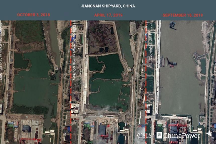 The images of the Jiangnan shipyard outside Shanghai were taken last month.