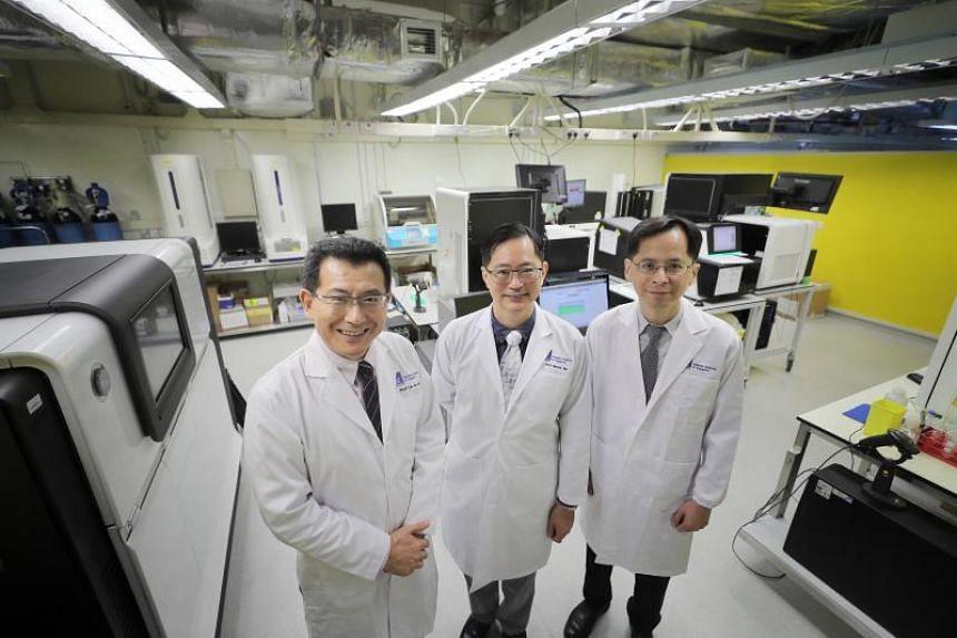 (From left) Professor Liu Jianjun, deputy executive director and senior group leader (human genetics) at the Genome Institute of Singapore (GIS); Professor Patrick Tan, GIS executive director; and Professor Cheng Ching-Yu, principal clinician scienti