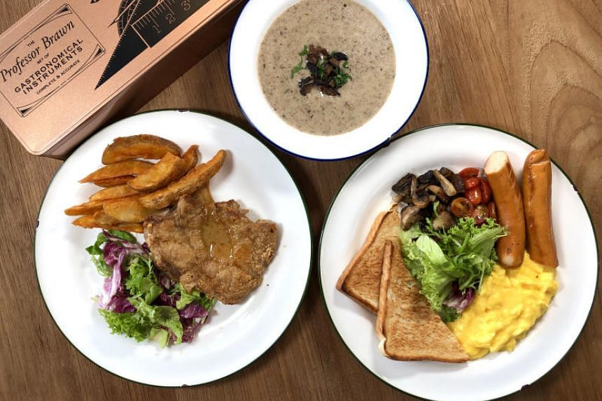 Cream Of Mushroom Soup, All-Day Breakfast Set and Grilled Chicken With Truffle Sauce from Professor Brawn Bistro.