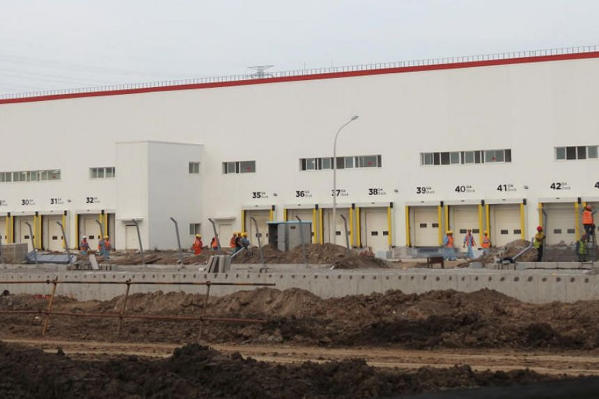 Construction site of electric carmaker Tesla's factory in Shanghai, China, on Sept 28, 2019.