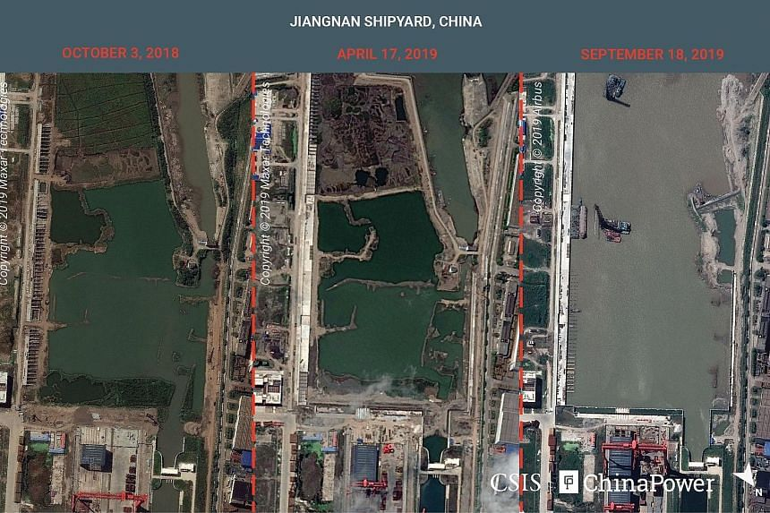 A combination image of satellite photos showing Jiangnan shipyard in Shanghai, China, on Oct 3, 2018, April 17, 2019, and Sept 18, 2019. Analysts say expansive infrastructure work at the shipyard suggests China's first full-sized aircraft carrier wil