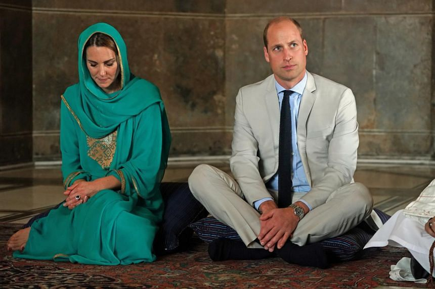 Britain's Prince William and his wife Kate visiting a mosque in Lahore, Pakistan, on Oct 17, 2019.