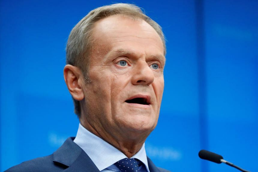 European Council President Donald Tusk speaks during a joint news conference at the European Union leaders summit, in Brussels, Belgium on Oct 17, 2019.