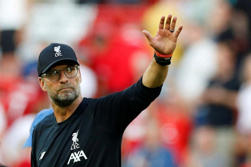In a photo taken on Aug 24, 2019, Liverpool manager Juergen Klopp gestures after the English Premier League match between Liverpool and Arsenal at Anfield, Liverpool.