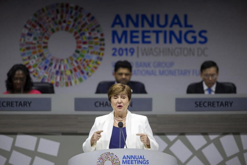 International Monetary Fund Managing Director Kristalina Georgieva speaking at the Fund's and World Bank's annual meetings in Washington, DC, on Oct 18, 2019.
