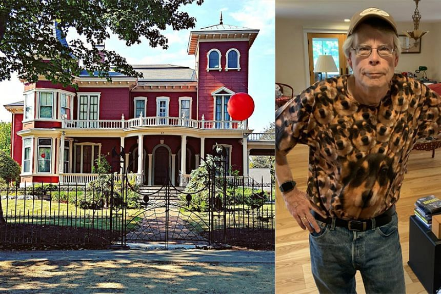 Stephen King's blood-red mansion in Bangor is a popular spot for fans who come to take photographs of the property that has a spooky wrought-iron fence featuring spiders and bat-winged creatures.