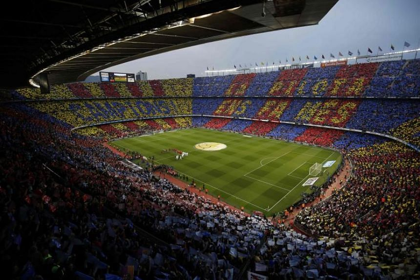 A photo taken on May 6, 2018, shows the Spanish league football match between Barcelona and Real Madrid at the Nou Camp in Barcelona.