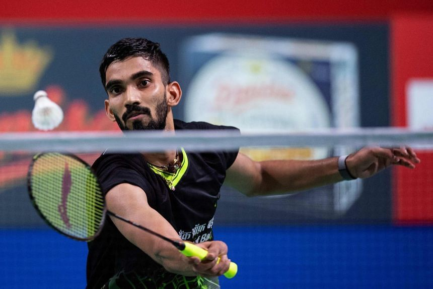 India's Kidambi Srikanth plays against Denmark's Anders Antonsen (not in picture) during the men's singles match of the Danisa Badminton Denmark Open Badminton in Odense, Denmark on Oct 16, 2019.
