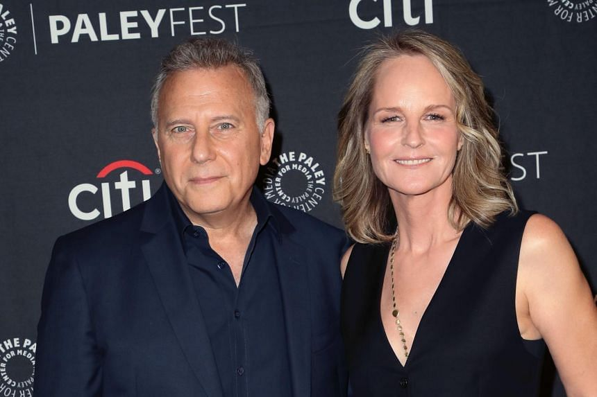 Mad About You actress Helen Hunt with her co-star Paul Reiser during an event in Beverly Hills, California, on Sept 7, 2019. They are currently involved in shooting a reboot of the sitcom.