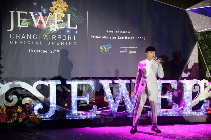 Singer-composer JJ Lin performing during the official opening of Jewel Changi Airport on Oct 18, 2019.