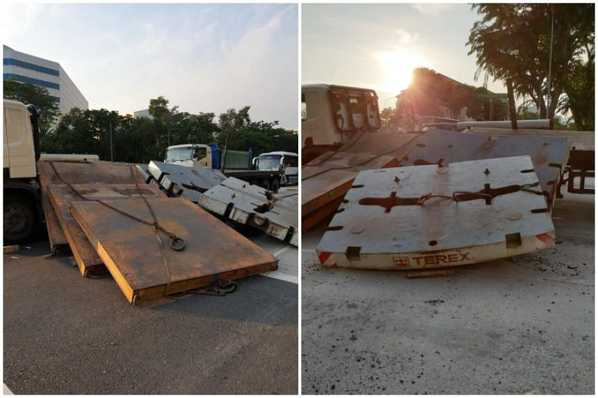 Pictures of the aftermath of the accident show five slabs that fell off the trailer and blocking the lane beside the one the trailer is on.
