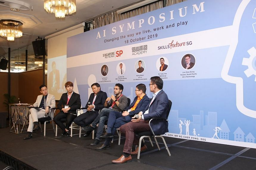 Speakers at a panel discussion during the inaugural Singapore Polytechnic Artificial Intelligence Symposium held at the Concorde Hotel on Oct 18, 2019.