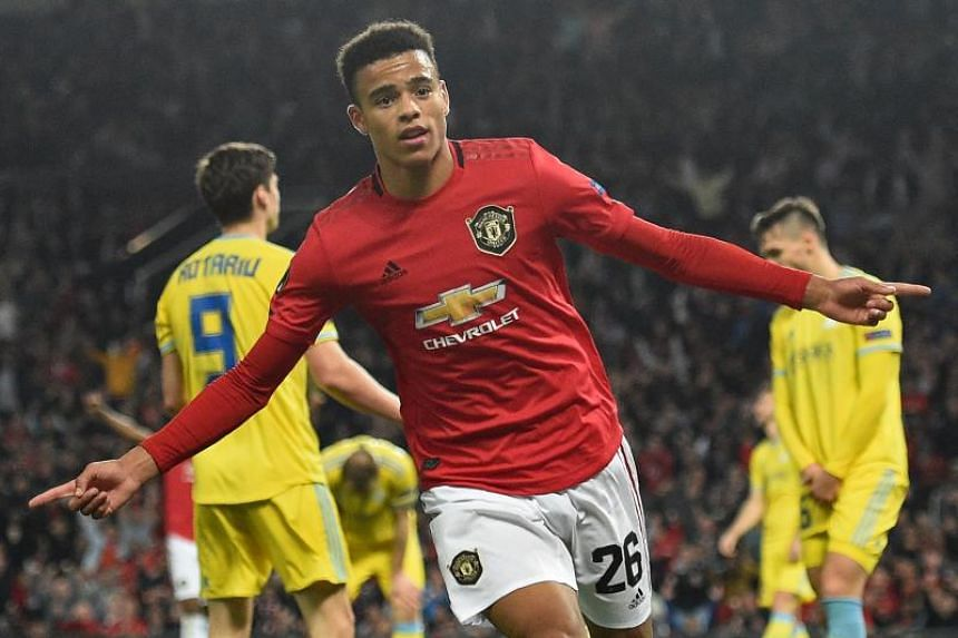 In a photo taken on Sept 19, 2019, Manchester United's striker Mason Greenwood celebrates after scoring the opening goal of the UEFA Europa League Group L football match between Manchester United and Astana at Old Trafford in Manchester, north west E