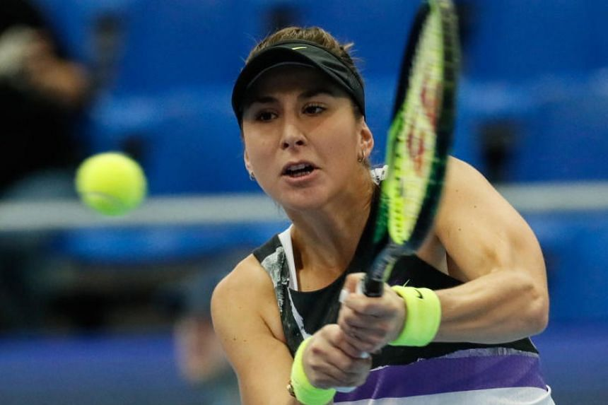 Belinda Bencic of Switzerland in action during her quarter-final match against Kristina Mladenovic of France at the Kremlin Cup tennis tournament in Moscow, Russia, on Oct 19, 2019.