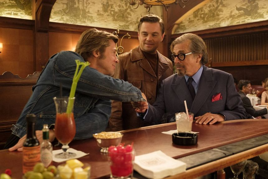 Still from Once Upon A Time In... Hollywood starring (from left) Brad Pitt, Leonardo DiCaprio and Al Pacino.