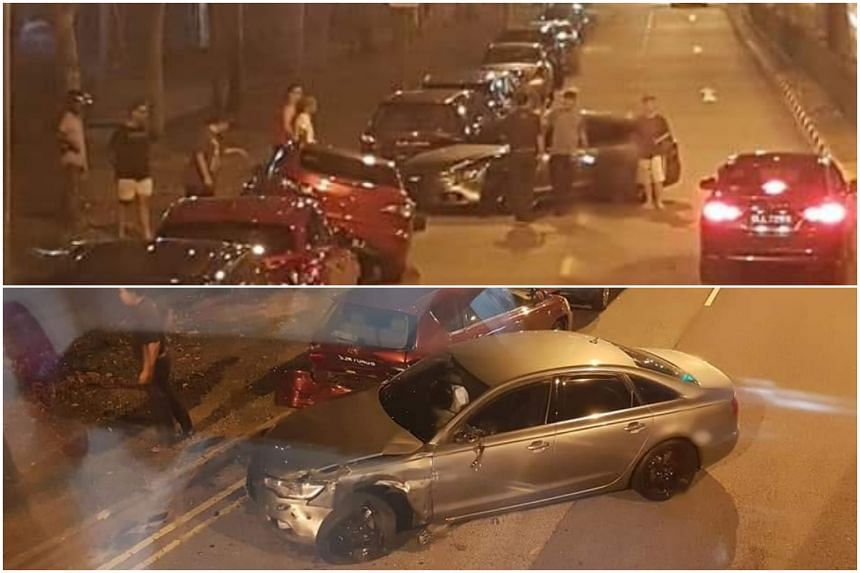 Pictures of the aftermath of the accident show the silver Audi had come to a stop beside a red car with several onlookers nearby.