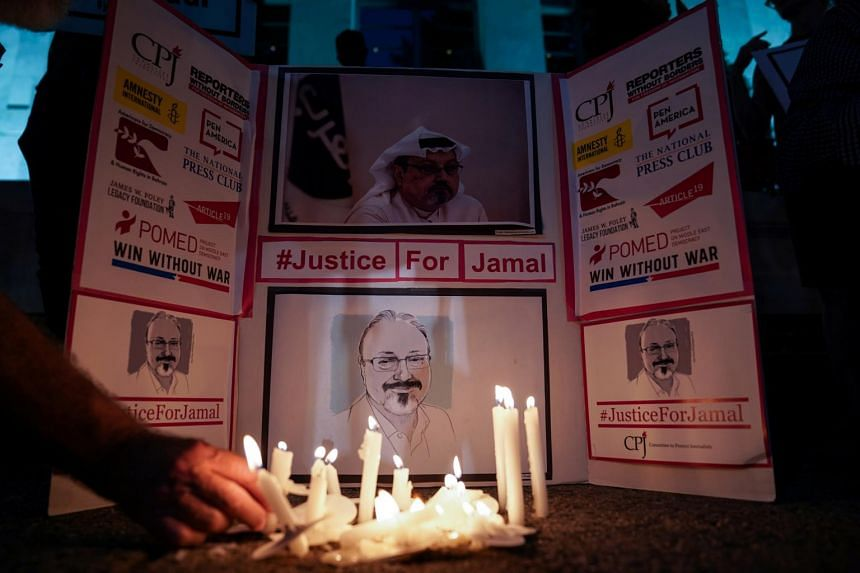 A candlelight vigil in front of the Saudi Embassy to mark the anniversary of the killing of journalist Jamal Khashoggi in Washington, on Oct 2, 2019.