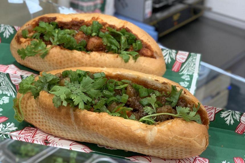 Grilled beef banh mi at Banh You Banh Mi at Suntec City.