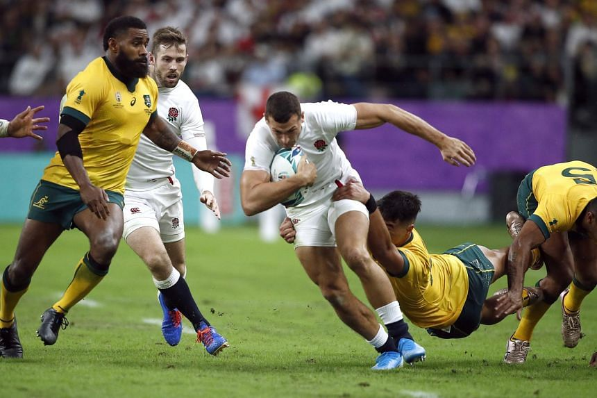 England's Jonny May in action during the Rugby World Cup quarter-final match against Australia at Oita Stadium in Japan on Oct 19, 2019.