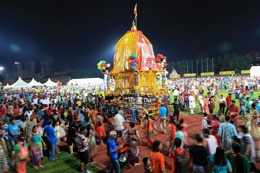 A photo taken on June 26, 2016, shows a chariot festival called Jagannatha Ratha Yatra, organised by Sri Krishna Mandir, the official Hare Krishna temple in Singapore, at Hougang Stadium.