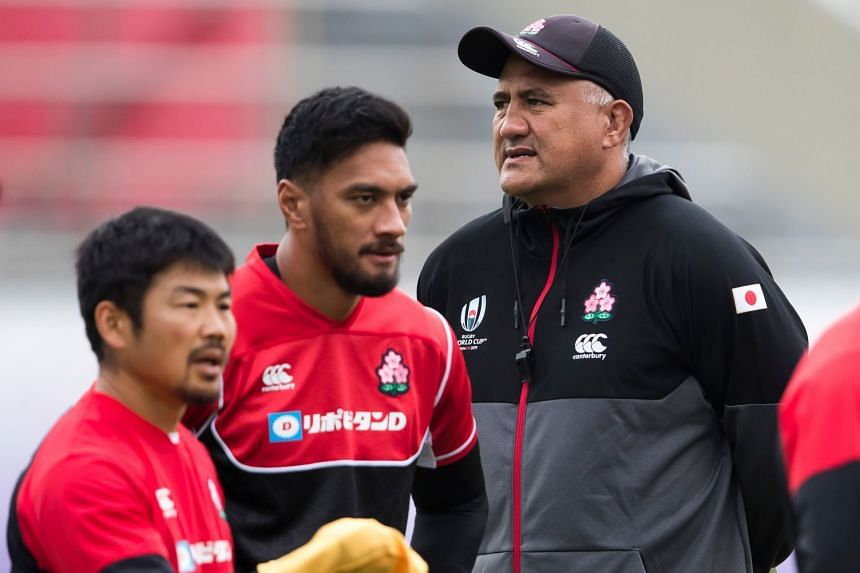 Japan's head coach Jamie Joseph leading a training session at the Prince Chichibu Memorial Rugby Stadium in Tokyo on Oct 17, 2019, during the Rugby World Cup.