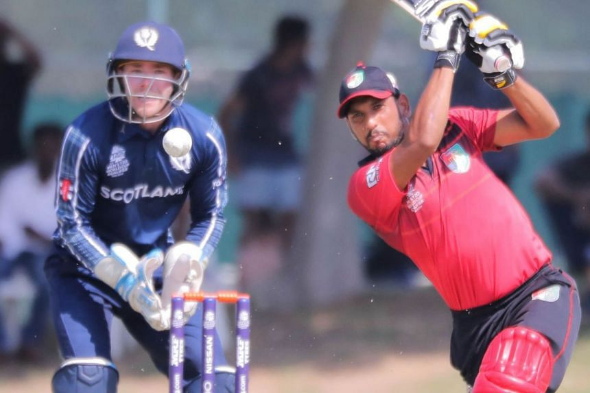 Surendran Chandramohan, who scored 51 runs, hitting a boundary in Singapore's two-run win over Scotland in their T20 World Cup qualifier in Dubai.