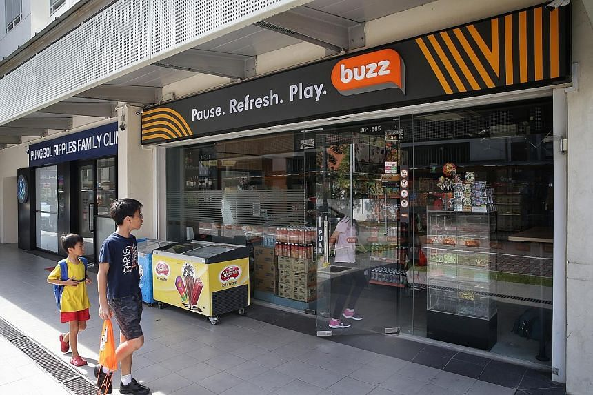 A newly revamped Buzz convenience store in Punggol. As competition heats up, convenience stores are revamping to attract customers.