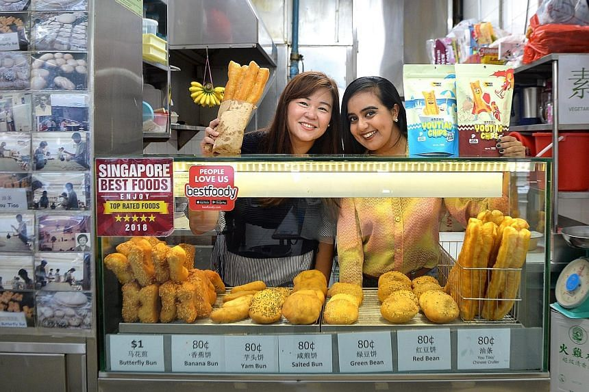 Ms Audrey Chew (left) got together with Ms Bandana Kaur (right) to create you tiao chips, which come in two flavours - soya milk with coconut; and sweet and spicy.