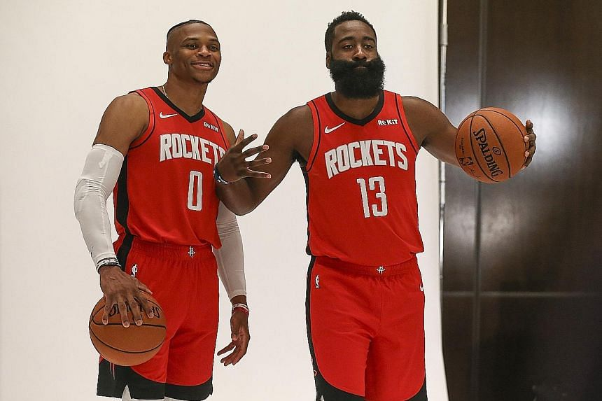 The Houston Rockets signed Russell Westbrook (left) to be reunited with 2018 MVP James Harden, who took a similar path seven years ago.