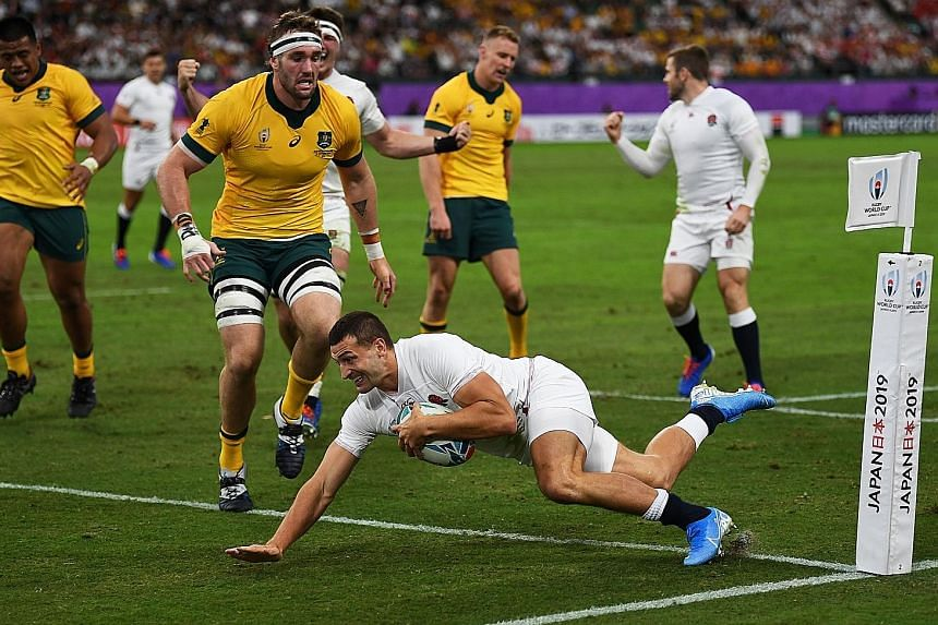 England wing Jonny May scoring one of his two swift tries to calm their jangling nerves in the first half.