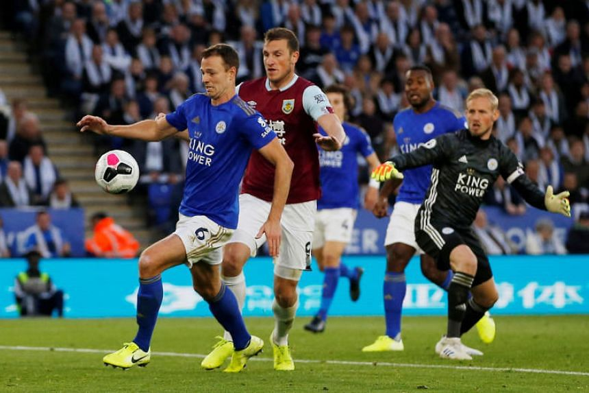 Leicester City's Jonny Evans appears to handball a Burnley's Chris Wood goal that was subsequently disallowed during their EPL match at King Power Stadium in Leicester, Britain on Oct 19, 2019.