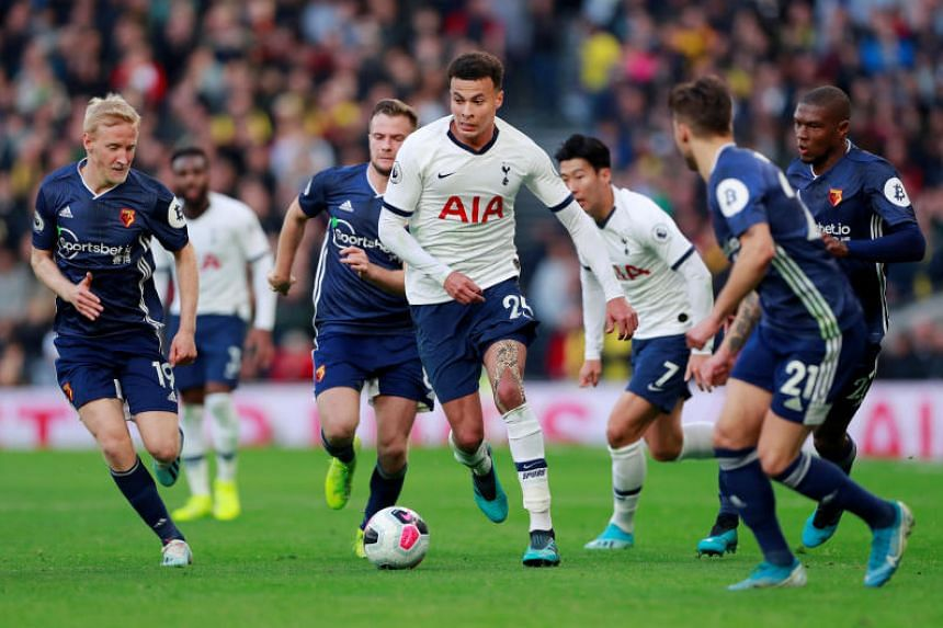 Tottenham Hotspur's Dele Alli in action during the team's English Premier League match against Watford at the Tottenham Hotspur Stadium in London on Oct 19, 2019