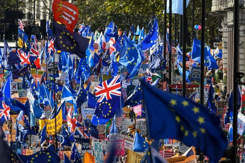 Demonstrators hold placards and EU and Union flags as they take part in a march by the People's Vote organisation in central London on Oct 19, 2019, calling for a final say in a second referendum on Brexit.