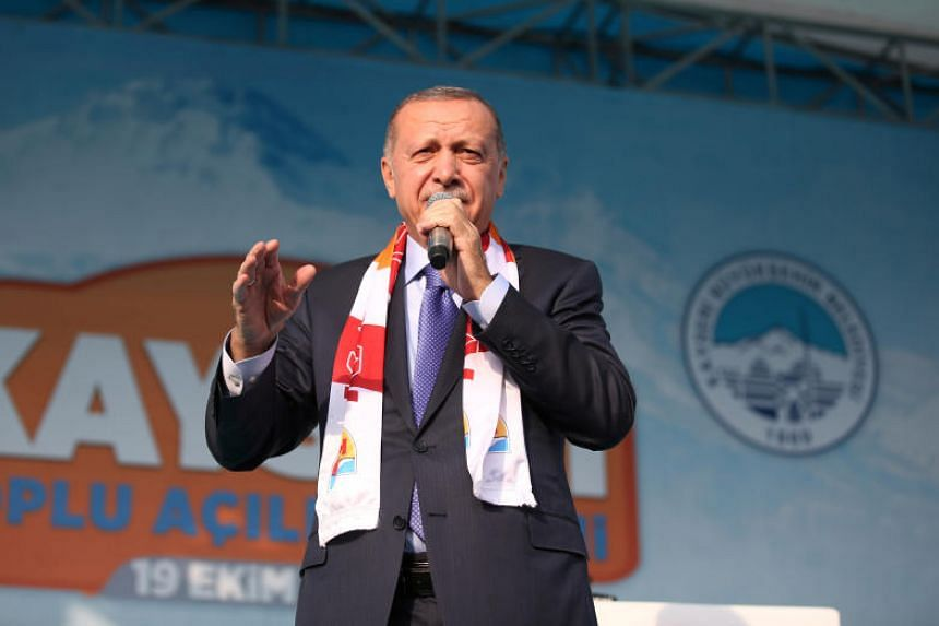 Turkish President Tayyip Erdogan speaks during a gathering in Kayseri, Turkey on Oct 19, 2019.