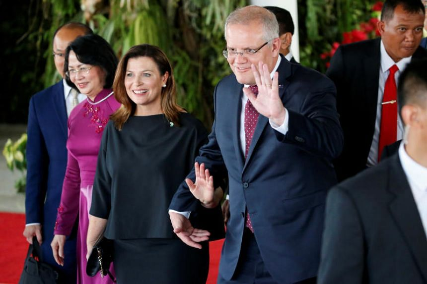 Australian Prime Minister Scott Morrison and his wife Jennifer after attending the inauguration of Indonesia's President Joko Widodo for his second term.